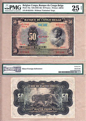 1941-42 Belgian Congo 50 Francs note. PMG Certified VF25 condition; Pick# 16a