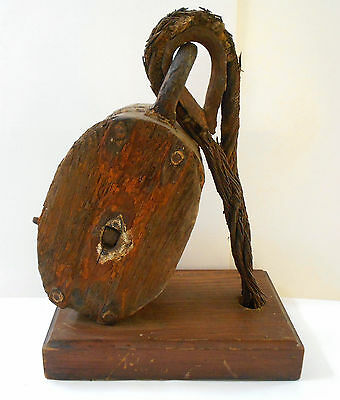Antique Block & Tackle Large Nautical PULLEY Metal Cable Primative Maritime Ship