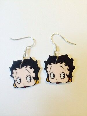 Betty Boop Face Earrings HANDMADE PLASTIC CHARMS Retro Pinup Vintage Girly