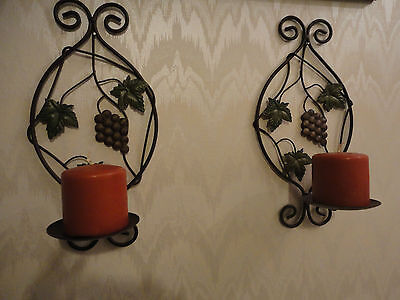 "2 Metal Scroll Candle Sconces dark brown Grape and Leave Decor Wall 13,5""X 7"""