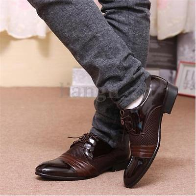 AU Men's Formal Leather Oxfords Pointed Toe Breathable Shoes Casual Dress Shoes