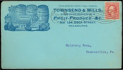 1909 PHILADELPHIA CDS, Illustrated Advert, TOWNSEND MILLS Melons Potatoes Grapes