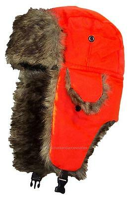 Toddler Soft Nylon Russian/Trapper Winter Ear Flap Hat Ski Toboggan #193 Orange