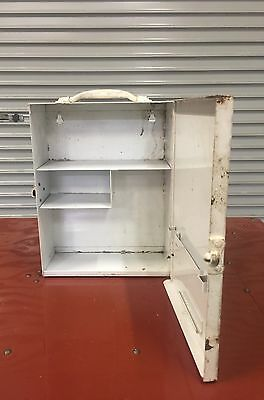 Vintage Industrial Metal Cabinet. Wall Mounted Shelving. First Aid Cabinet