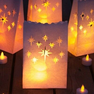 Flameless Battery LED Candles Luminary Bags Luminaries Gift Christmas Flickering