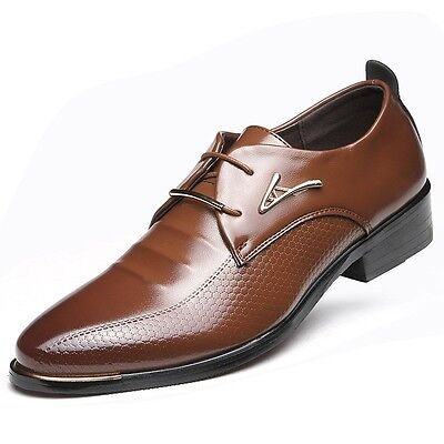 AU Fashion Mens Business Pointed Oxfords Leather Casual Formal Shoes Multi-size