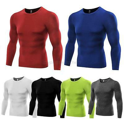 Mens Thermal Under Base Layer Long Sleeve Top Compression Sports Tights T-shirts