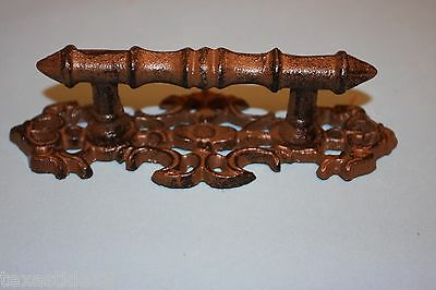 (4) Victorian Drawer Pull, 6 5/8, Elegant Pull With Backplate, Cast Iron, Hw-06