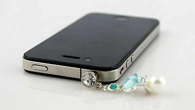 Blue Crystal Bow Tie & Pearl 3.5mm Headphone for iPhone Samsung Huawei