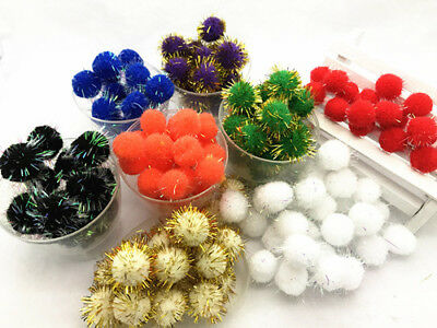 NEON IRIDESCENT GLITTER POM POM BALLS 15mm - Sparkly Small Puff Kitten Cat Toys
