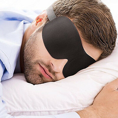 PLEMO Sleep Eye Mask Lightweight Ultra-Soft Silky Contoured Breathe-Easy Black