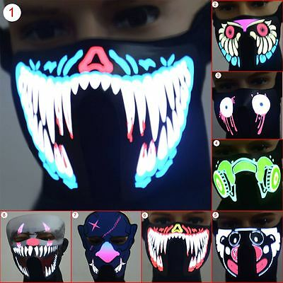 Flashing Luminous Face Mask LED Light Up For Halloween Party Costume Cosplay