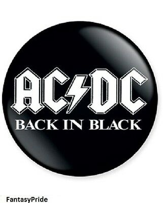 """Ac/dc Back In Black With White Logo 1 1/2"""" Across Metal Button New"""