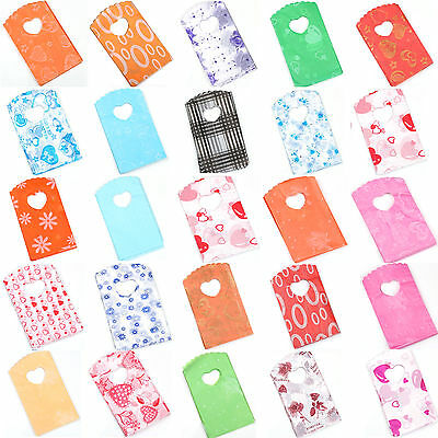 50Pcs MIX Color Plastic Heart Packing Shopping Supplies Gift Bag 15*9cm