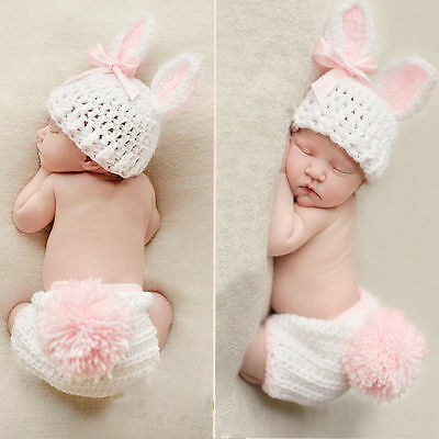 Newborn Baby Girl Boy Knitted Crochet Costume Photo Photography Prop Hats Outfit