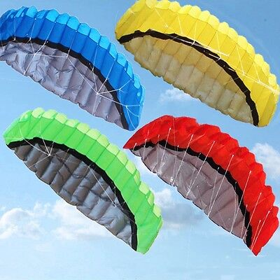 Huge 2.5m Dual Line Stunt Parafoil Parachute Sport Beach Kite Outdoor Toy Yellow