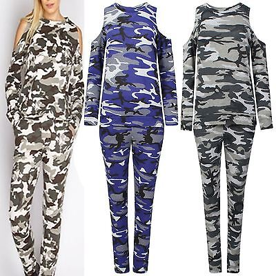 New Women Ladies Celeb Multi Camo Cold Shoulder Top Bottoms Lounge Tracksuit Set