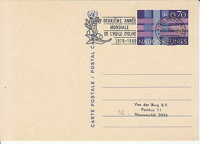 2nd world Olive Oil year 1979/1980 postmark on card United Nations