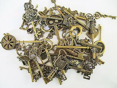 Jewelry Findings large, Antique Brass Mixed Vintage Metal Key Charms 2-8cm long