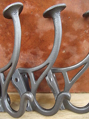 8 Industrial Vintage Look Art Nouveau Style Cast Iron Coat Hooks, light enamel