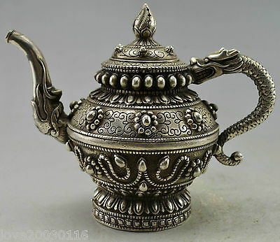Collectible Decor Old Handwork Silver Plate Copper Carved Dragon Tibet Tea Pot