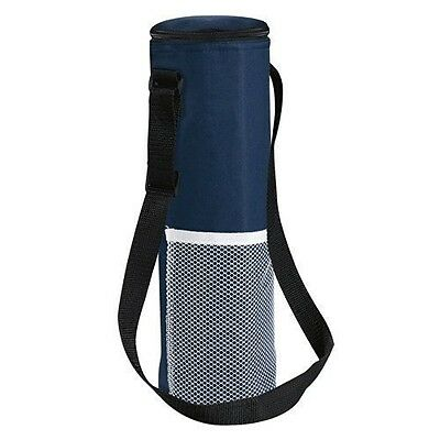 Insulated Bottle Cool Bag With Strap - Navy Picnic Drinks Carrier / Wine Cooler