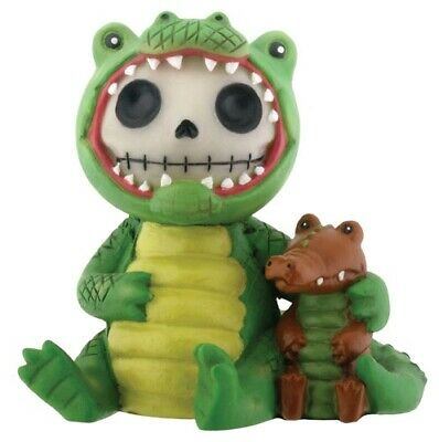 FurryBones Chompsy Figurine Crocodile Cute Gift Green Skull Skeleton Different