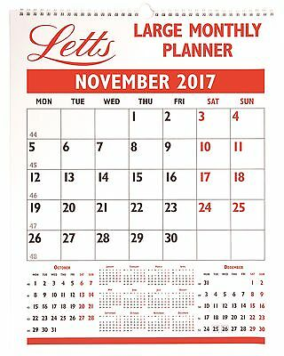 Letts 2017 Calendar Large Monthly Planner Wall Hanging