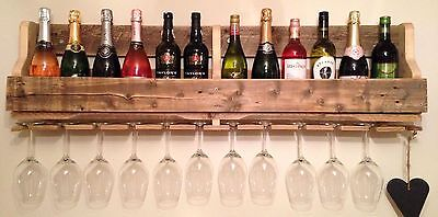 Handcrafted Wooden Wall Mounted Wine Rack/Glass Holder Various Sizes