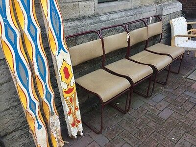 VINTAGE INDUSTRIAL TUBULAR STACKING CHAIRS - CAFE CHAIRS - Set Of Four