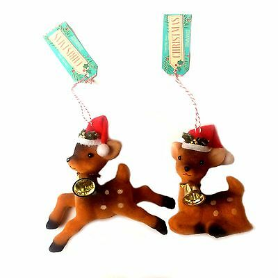 Bambi TWO Retro Kitsch Vintage Style Christmas Tree Decoration Ornaments