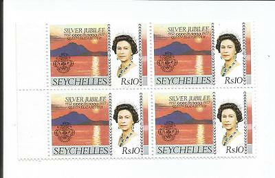 Seychelles 1977 Silver Jubilee block of four Stamps MS SG 400 10 RS MINT
