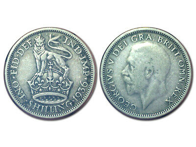 1936 Great Britain United Kingdom 1 Shilling Silver ARGENTO Coin King George V