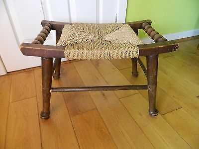 Lovely Vintage Retro Wooden Stool Solid Wood BrownString Seat,Early 20th Century