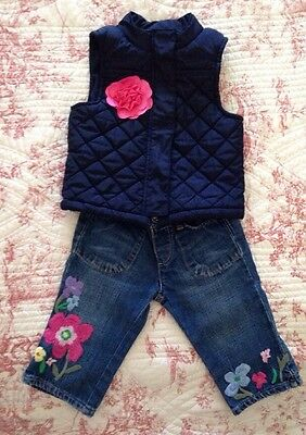 Girls Osh Kosh Navy Quilted Gilet Bodywarmer 3T + Gap Embroidered Jeans Age 3