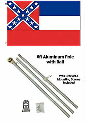 2x3 2'x3' State of Mississippi Flag Aluminum Pole Kit Gold Ball Top