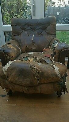 LEATHER CHESTERFIELD style CHAIR, HIGH BACK LEATHER ARMCHAIR