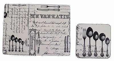 4X Classic Monochrome Cutlery Black Grey Heat Resistant Placemats & Coasters