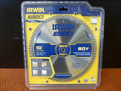 "Irwin 14076 10"" X 80T x 5/8 Carbide Tip Miter Table Circular Saw Blade Trim"