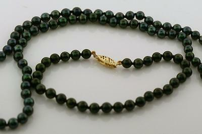 Black Peacock Freshwater Pearl Necklace and Bracelet with 14K Yellow Gold Clasp