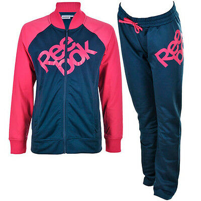 Reebok Girls Full Tracksuit Poly Suit Junior Kids Infant Top Bottoms 3-16 Years