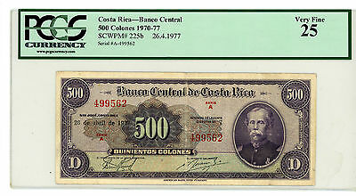 Costa Rica … P-225b … 500 Colones … 1977 … *VF*  PCGS 25.