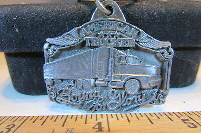 Vintage 1989 Siskiyou Buckle Co Pewter Key Chain-American Trucker Bound For Glor