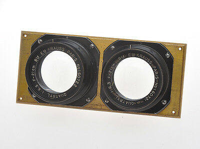 Krauss Paris rare couple of stereo lenses Quatryl 21cm 210mm F:6.3