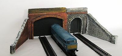 n gauge (1:148) triple tunnel portals and retaining walls slate & brick finish