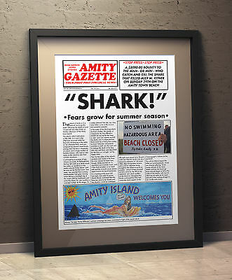 JAWS INSPIRED A3 Newspaper Poster
