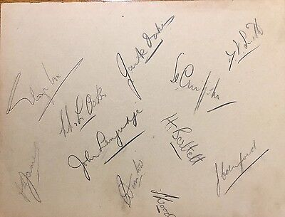 SUSSEX CRICKET CLUB TEAM RARE AUTOGRAPHS c1938 inc ARSENAL FOOTBALLER GEORGE COX