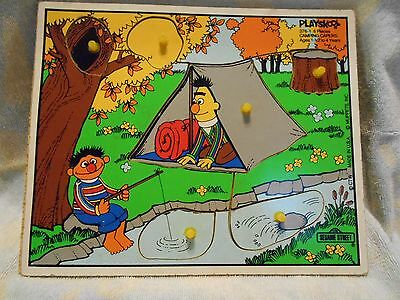 Vintage Wooden Playskool Puzzle   Camping Capers #376-1  Sesame Street