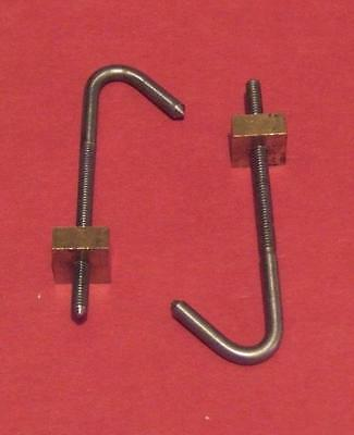 "PAIR LONGCASE GRANDFATHER CLOCK MOVEMENT SEATBOARD HOOK 3.2MM 1/8"" free UK P&P"