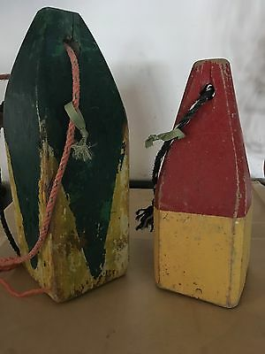 2 Decorative Wood Buoys (1 red/yellow, 1 blue.yellow) both with rope handles